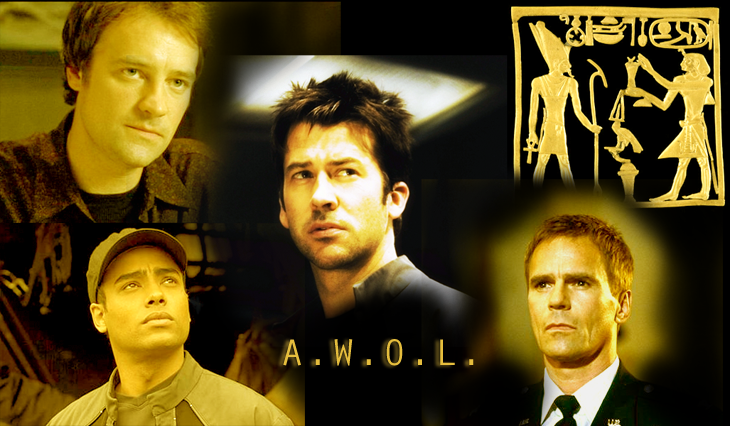A.W.O.L. cover image featuring John Sheppard in center, ringed by, counter-clockwise,  Rodney McKay, Aiden Ford, Jack O'Neill, and an Egyptian hieroglyph of Atum
