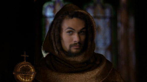 Ronon in a monk robe with a golden bishop's chalice by his side.