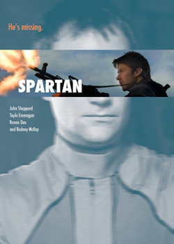 Movie poster image. Blurry bluish image of Rodney with strip of John firing big-ass AKS gun overlaid where Rodney's eyes are. The text reads: He's missing.